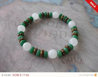 White jade & green emerald bracelet