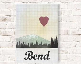 Bend, Oregon, skylines, Love Bend, Bend Letterpress, Typographic art Bend, Bend Souvenir, Bend print decor, Bend poster, poster oregon