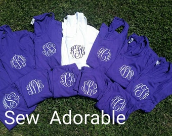 Monogrammed bridesmaids fitted tanks