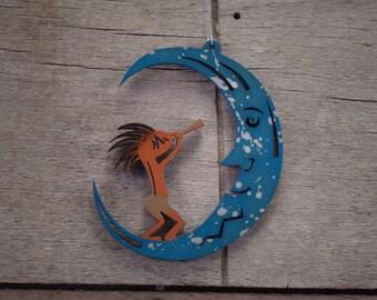 Kokopelli & Moon Southwest Ornament