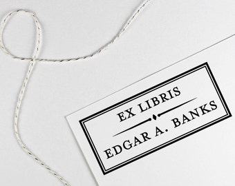 Ex Libris, From the library of stamp customized with name, book belongs to, teacher gift, self inking or rubber stamp