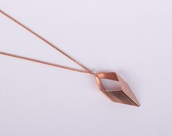 Rose Gold Plated Necklace Rhombus  Rosegolden Necklace Minimal Jewelry Necklace Diamond