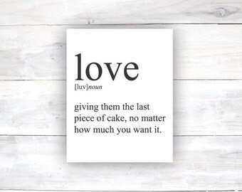 Love word and definition Typography Poster Home Decor