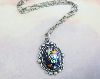 Black Opal Necklace Pendant Black Fire Opal Necklace Jewelry Fantasy Mystical