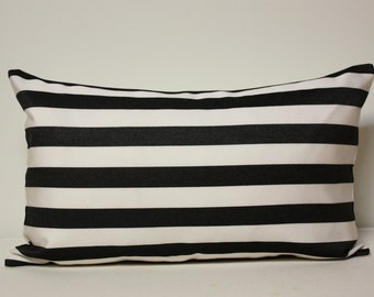 Black and white stripes Pillow cover, barcode pillows, black stripes pillow cover, black and white decor, 12x20 lumbar pillow cover