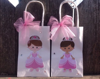 Princess Party Favor Bags Treat Bags for Birthday Party Baby Shower Girls Pink Party