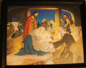 Folk Art Like Lithographic Depiction ot The Nativity Scene Older Lithograph Nice Condition