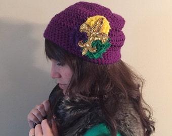 Newborn-Adult CROCHET Mardi Gras Hat, Purple Fleur de Lis Crochet Kufi Hat, Beanie Hat, Mardi Gras Hat, Shabby Chic, Handmade Crochet Hat