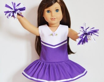 "Handmade Doll Clothes Cheerleader Outfit Purple Poms Fits 18"" American Girl Dolls 1"
