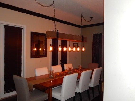 Reclaimed Wood Beam Chandelier With Globe Edison Lights