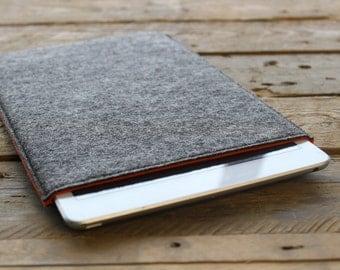 iPad Air Case / iPad Air Sleeve / iPad Air Cover - Mottled Dark Grey Outer and Choice of Inner Colours - 100% Wool Felt