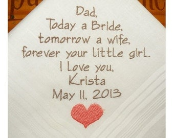 Father of the Bride Personalized Wedding Hankerchiefs Handkerchiefs gifts heart poem hankies wedding custom embroidered