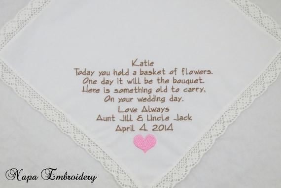 Embroidered Flower Girl Handkerchiefs Hankerchiefs wedding hankies gift poem personalized hankies poem