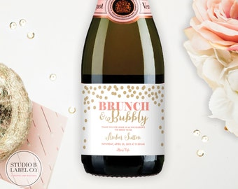 Bridal Shower Favor Mini Champagne Labels - Personalized Custom Labels - Brunch and Bubbly - Celebrate the Bride to Be - Set of 10