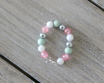 Baby Bracelet, Girls Bracelet, Small Beaded bracelet, bracelet, baby Jewelry, Toddler Jewelry, pink light blue white and gray bracelet