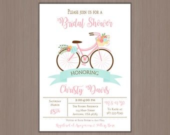 Art print 5x7 vintage bicycle with flowers vintage bicycle wedding shower invitation 5x7 digital invitations or professionally printed by us floral filmwisefo