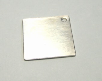 1 inch sterling silver square stamping blank in 16 gauge