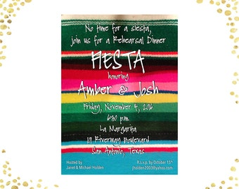 Fiesta Rehearsal Dinner Invitations Mexican Rehearsal Dinner Invitations Serape Fiesta Rehearsal Dinner Invitations Casual