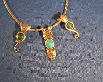 Vintage Necklace 3 Dangles Malachite and Turquoise  Sterling Silver by Carolyn Pollack