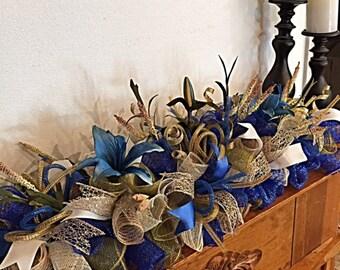 Elegant Blue Lily Mantel Deco Mesh Arrangement/Blue Lily Centerpiece/Blue Lily Table Arrangement/Blue Lily Candle Arrangement