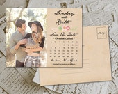 "Wedding Save The Date PostCard - RusticFloral Vintage Photo Personalized 4.25""x5.5"""