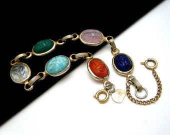 Vintage Judy Lee Scarab Bracelet Multi Colored with Safety Chain