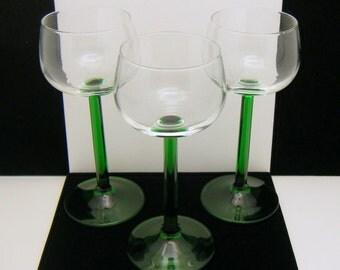 Cristal d' Arques LUMINARC Emerald Green Stem Wine Hock Glass Goblets Lot of 3