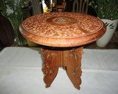 Carved Wood Occasional Table Floral Motif Folding Leg Plant Stand Table Lamp Stand Made In India