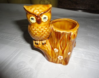 Porcelain Owl Figurine Tooth Pick Holder Seedling Planter Made By Lego