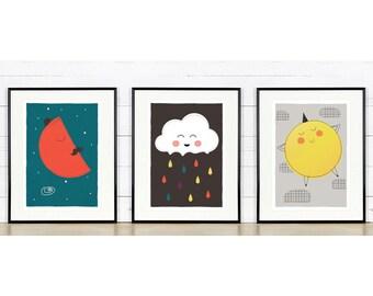 Colorful nursery decor, Sky theme, Moon, Cloud, Sun, Rain cloud, Nursery decor, Nursery art print set, Nursery artwork, Cute baby animals