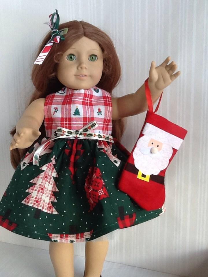 Christmas american girl 18 inch doll dress by peekabooporch