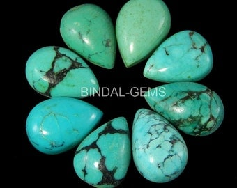 5 Pieces Wholesale Lot Natural Turquoise Pear Shape Gemstone Cabochon For Jewelry