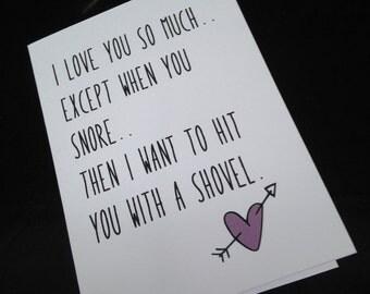 Valentine's card - husband / boyfriend / partner - funny, snoring. Free p&p