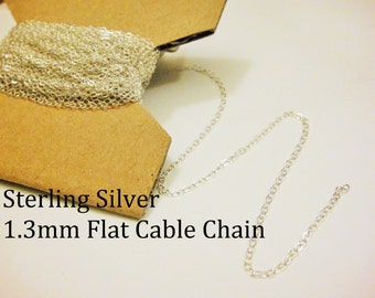 5 ft Sterling silver 1.3mm flat cable chain, sterling silver cable chain, silver chain