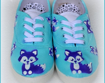 Gifts for Girls-Kitten Shoes, Hand Painted Kitten Sneakers, Cute Kitty Shoes, Girls Shoes-Kitten Theme, Painted Girls Shoes, Blue GirlsShoes