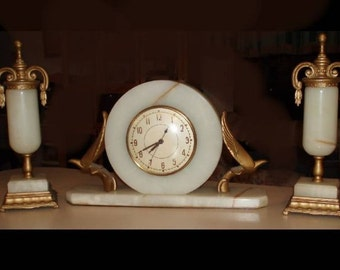Art Deco Clock With Sconces