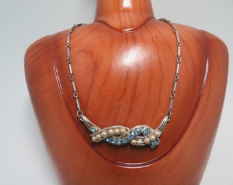 Coro Light Blue Rhinestone and Faux Pearl Necklace