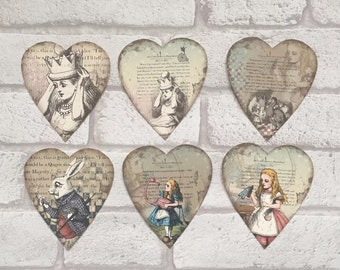 Alice In Wonderland Toppers make your own cards gift tags scrapbooking x 6