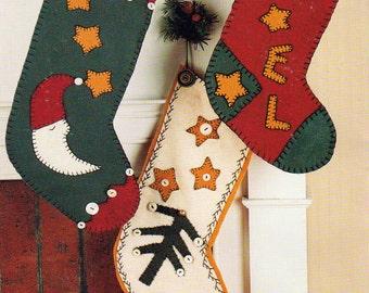 Fireside Socks, Felt Christmas Stockings Patterns, 3 Different Christmas Stockings, Indygo Junction Pattern, Christmas Decor, Vintage 1994