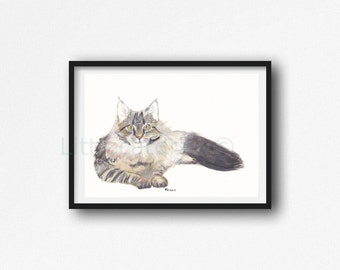 Maine Coon Cat Print Watercolor Painting Print Cat Watercolour Wall Art Home Decor Cat Lover Gift Cat Print Unframed