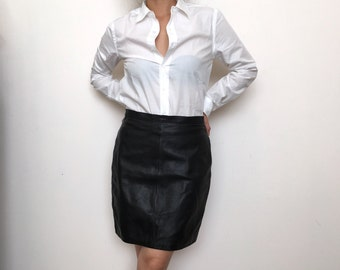 Genuine black leather skirt