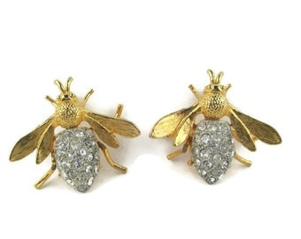 Vintage Insects Bugs Pave Rhinestone Gold Tone Scatter Pins