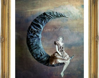 Fairytale Paper Doll Blue Moon Fine Art Photograph -  10x8''  Digital Photograph - Bedroom Art - Childrens Bedroom Nursery Decor