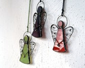 Fast Delivery! Little Angel Ornament, Cute Stained Glass Suncatcher, Holiday Decor, Green Red Purple Angels
