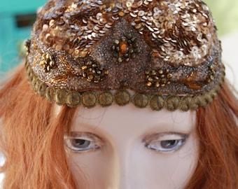 RARE 1920s Exotic DaZZaling Heavily Sequinned Beaded 20s Flapper Skull Cap Bohemian Gypsy Hat