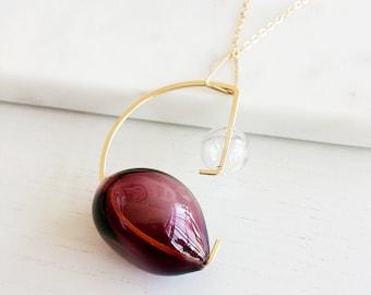 Purple Necklace, Gold Necklace, Long Necklace, Hand Blown Glass Necklace, Statement Necklace, Bubbles Necklace