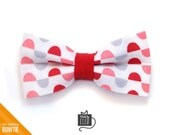 "Pet Bow Tie - ""Love Letters"" - Red, Pink & Gray Polka Dot - Detachable Bowtie for Cats + Dogs - Valentine's Day"