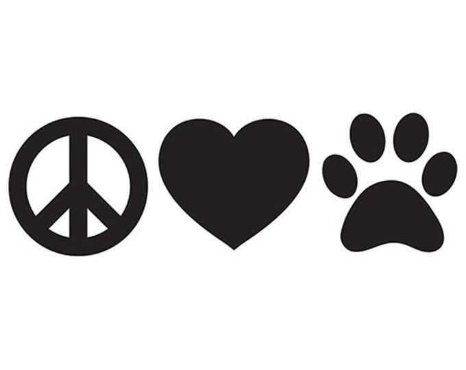 Peace Love Paw Print Vinyl Decal
