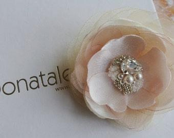 Ivory Blush Champagne Bridal Headpiece,Wedding hair piece, Wedding hair flower, Wedding hair clip, Prom headpiece - ERICA