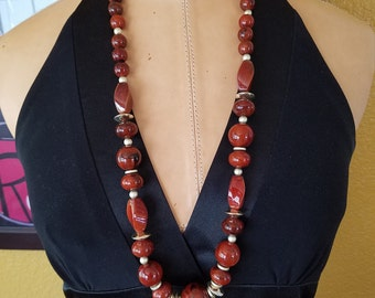 Vintage Gold & Reddish Brown Beaded Necklace, 1980's Beaded Necklace, Reddish Lucite Beaded Necklace, Statement Necklace